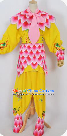 Traditional Chinese Professional Peking Opera Nezha Yellow Costume, China Beijing Opera Martial Arts Embroidered Clothing