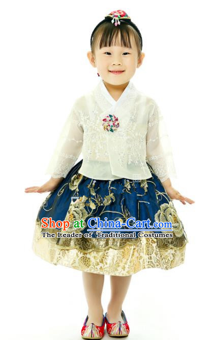 Traditional South Korean Handmade Printing Hanbok Children Birthday Princess Blue Full Dress, Top Grade Korea Hanbok Costume Complete Set for Kids