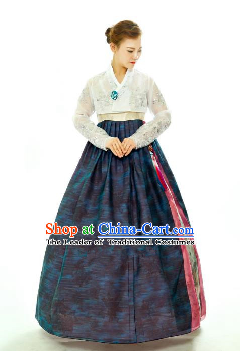 Traditional South Korean Handmade Hanbok Embroidery Navy Full Dress, Top Grade Korea Hanbok Costume Complete Set for Women