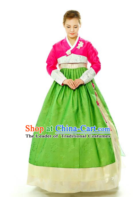 Traditional South Korean Handmade Hanbok Embroidery Green Wedding Full Dress, Top Grade Korea Hanbok Bride Costume Complete Set for Women