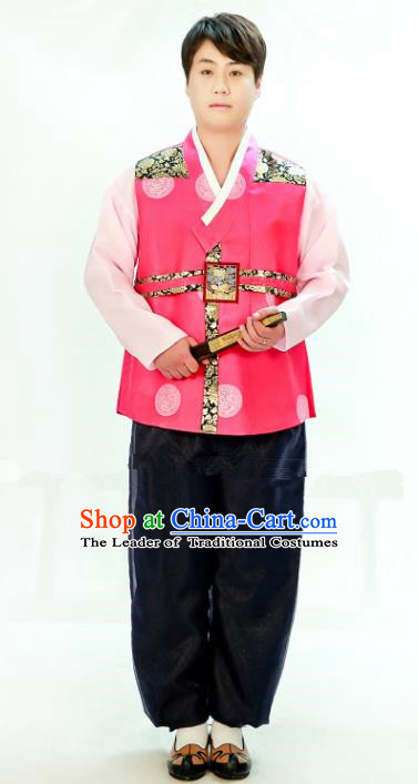 Traditional South Korean Handmade Hanbok Embroidery Bridegroom Wedding Rosy Clothing, Top Grade Korea Hanbok Costume Complete Set for Men