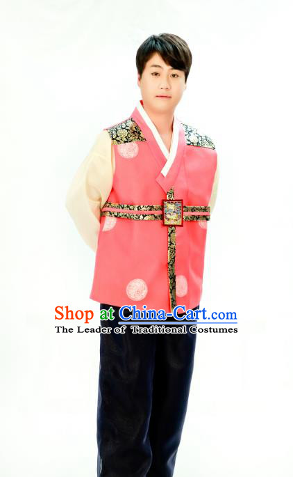 Traditional South Korean Handmade Hanbok Embroidery Bridegroom Wedding Pink Clothing, Top Grade Korea Hanbok Costume Complete Set for Men