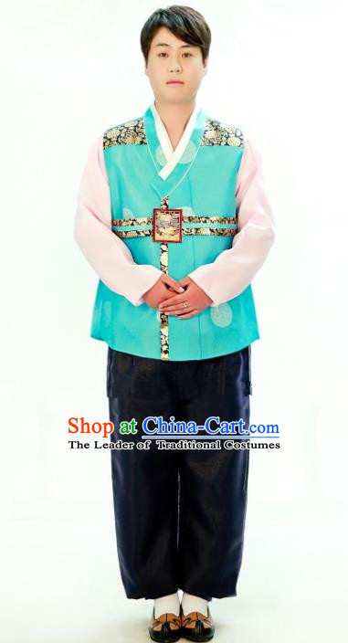 Traditional South Korean Handmade Hanbok Embroidery Bridegroom Wedding Green Clothing, Top Grade Korea Hanbok Costume Complete Set for Men