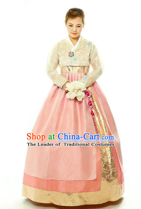 Traditional South Korean Handmade Hanbok Embroidery Bride Wedding Pink Dress, Top Grade Korea Hanbok Palace Lady Costume Complete Set for Women