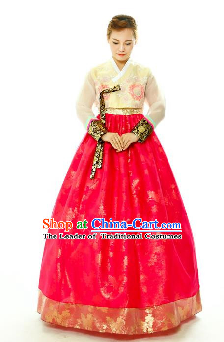 Traditional South Korean Handmade Hanbok Embroidery Bride Wedding Red Dress, Top Grade Korea Hanbok Palace Lady Costume Complete Set for Women