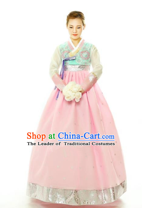 Traditional South Korean Handmade Hanbok Embroidery Pink Wedding Full Dress, Top Grade Korea Hanbok Bride Costume Complete Set for Women