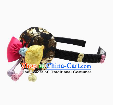 Traditional South Korean Handmade Embroidery Hair Accessories Black Headband, Top Grade Korea Children Hair Clasp Headwear for Kids