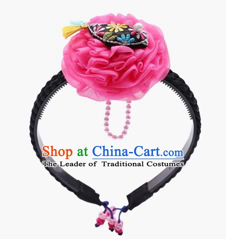 Traditional South Korean Handmade Embroidery Hair Accessories Pink Flower Headband, Top Grade Korea Children Hair Clasp Headwear for Kids
