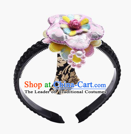 Traditional South Korean Handmade Embroidery Hair Accessories Pink Headband, Top Grade Korea Children Hair Clasp Headwear for Kids