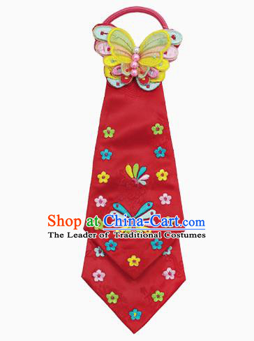 Traditional South Korean Handmade Hair Accessories Red Embroidery Headband, Top Grade Korea Children Hair Clasp Headwear for Kids