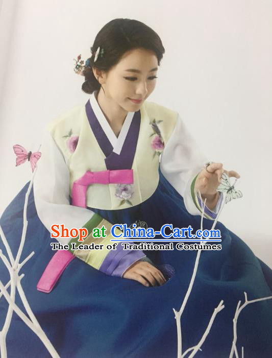 Traditional South Korean Handmade Mother Hanbok Customization Clothing Embroidery Blue Dress, Top Grade Korea Wedding Royal Hanbok Costume for Women