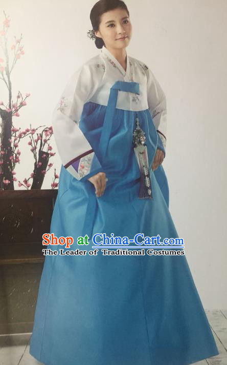 Traditional South Korean Handmade Hanbok Customization Mother Clothing Embroidery Blue Dress, Top Grade Korea Wedding Royal Hanbok Costume for Women