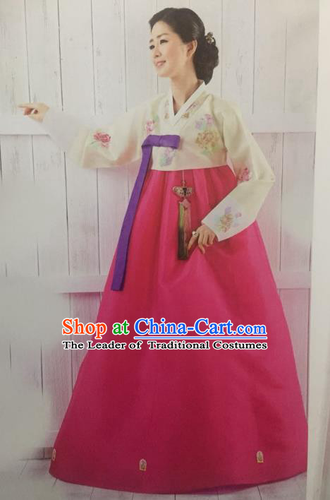 Traditional South Korean Handmade Hanbok Customization Mother Clothing Embroidery Rosy Dress, Top Grade Korea Wedding Royal Hanbok Costume for Women