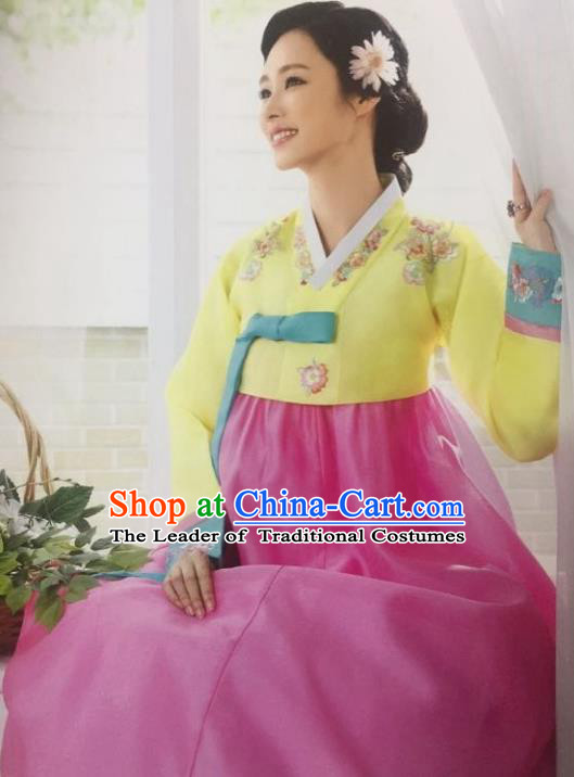 Traditional South Korean Handmade Hanbok Customization Mother Clothing Embroidery Blouse Pink Dress, Top Grade Korea Wedding Royal Hanbok Costume for Women