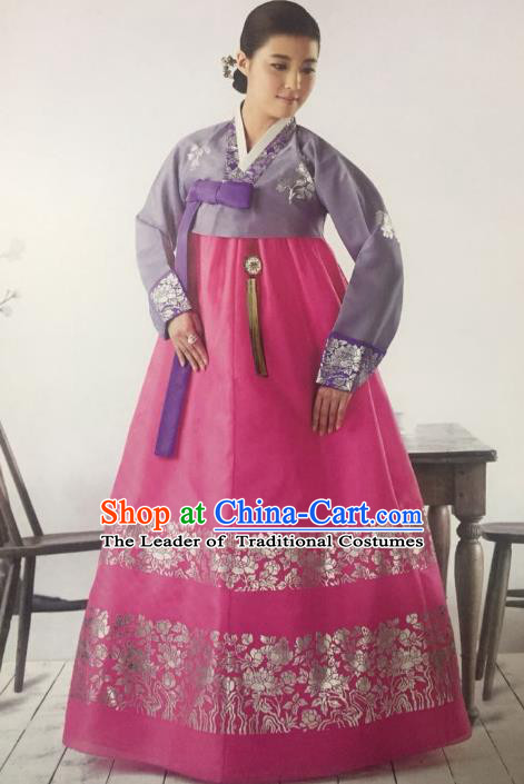Traditional South Korean Handmade Hanbok Customization Mother Clothing Embroidery Purple Blouse Pink Dress, Top Grade Korea Wedding Royal Hanbok Costume for Women
