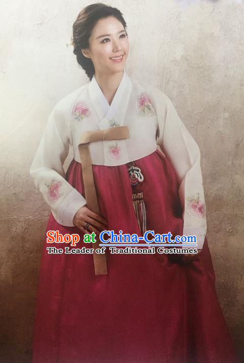 Traditional South Korean Handmade Hanbok Customization Mother Clothing Embroidery Blouse Red Dress, Top Grade Korea Wedding Royal Hanbok Costume for Women