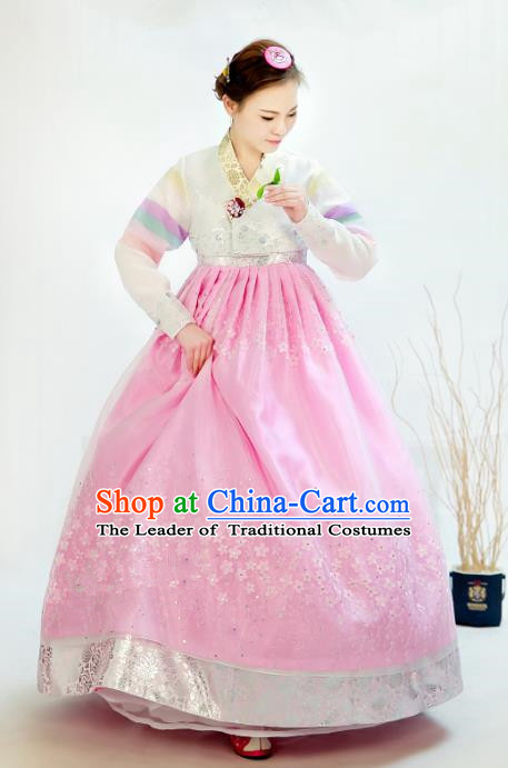 Traditional South Korean Handmade Hanbok Customization Bride Clothing Embroidery Blouse Pink Dress, Top Grade Korea Wedding Royal Hanbok Costume for Women