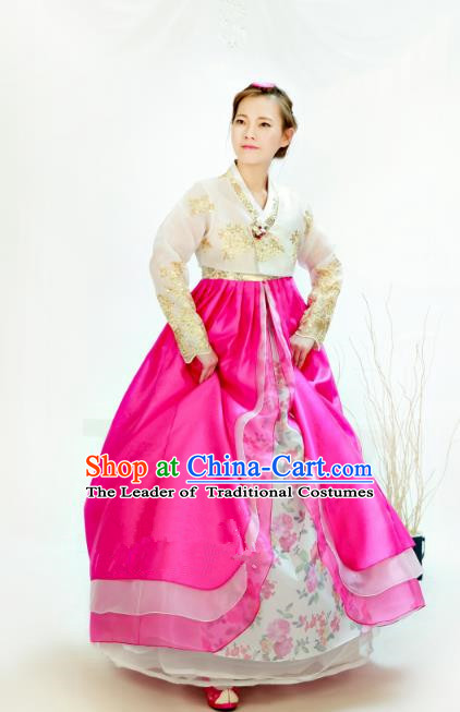 Traditional South Korean Handmade Hanbok Customization Bride Clothing Embroidery Blouse Rosy Dress, Top Grade Korea Wedding Royal Hanbok Costume for Women
