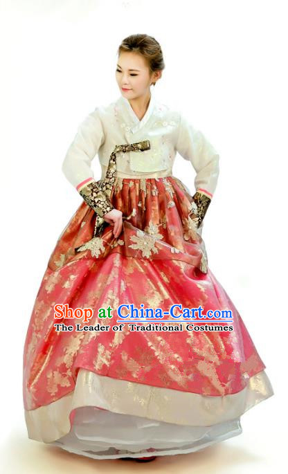 Traditional South Korean Handmade Hanbok Customization Bride Clothing Embroidery Blouse Red Dress, Top Grade Korea Wedding Royal Hanbok Costume for Women
