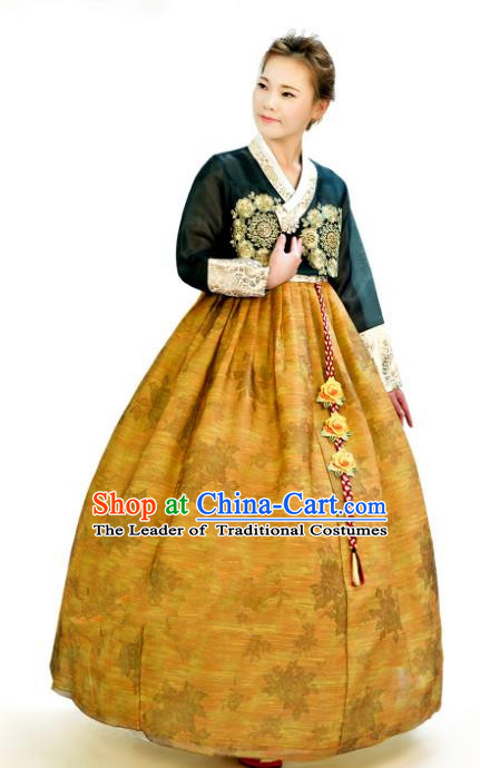 Traditional South Korean Handmade Hanbok Customization Mother Clothing Embroidery Blouse Ginger Dress, Top Grade Korea Wedding Royal Hanbok Costume for Women