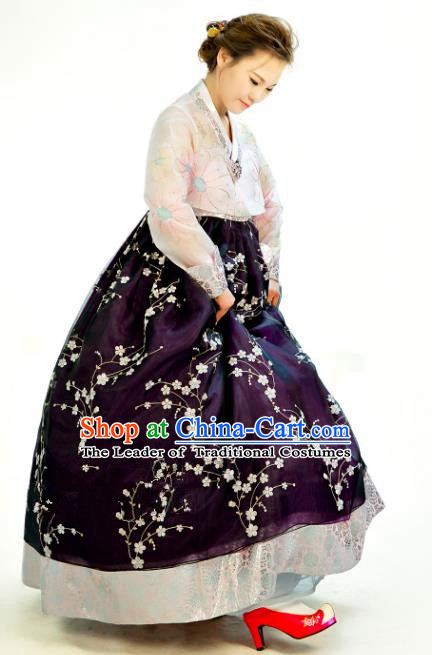 Traditional South Korean Handmade Hanbok Customization Mother Clothing Embroidery Blouse Purple Dress, Top Grade Korea Wedding Royal Hanbok Costume for Women