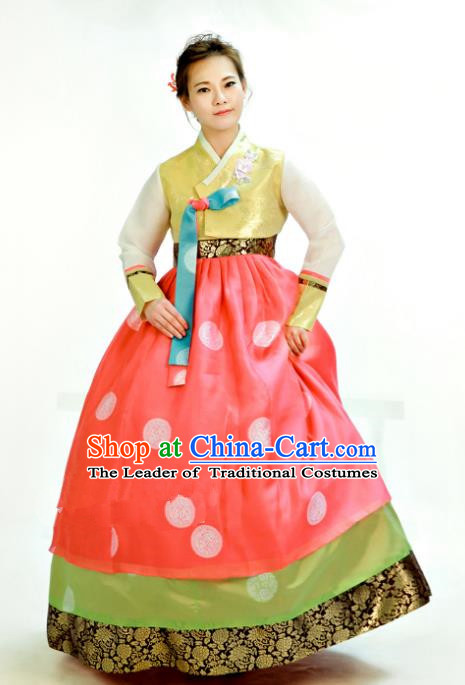 Traditional South Korean Handmade Hanbok Customization Mother Clothing Embroidery Blouse Watermelon Red Dress, Top Grade Korea Wedding Royal Hanbok Costume for Women