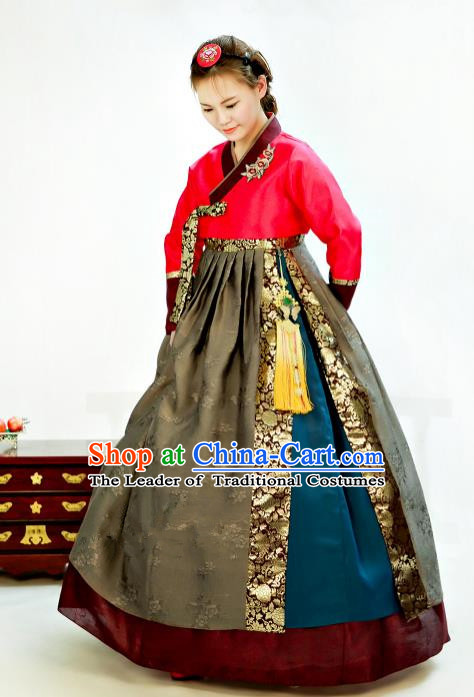 Traditional South Korean Handmade Hanbok Customization Mother Clothing Embroidery Blouse Dress, Top Grade Korea Wedding Royal Hanbok Costume for Women