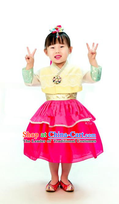 Traditional South Korean Handmade Hanbok Children Embroidery Birthday Dress, Top Grade Korea Hanbok Costume Complete Set for Kids