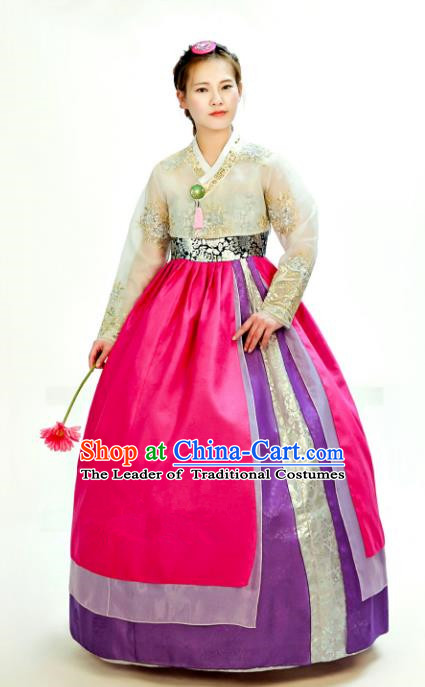 Traditional South Korean Handmade Hanbok Customization Mother Clothing Embroidery Blouse Rosy Dress, Top Grade Korea Wedding Royal Hanbok Costume for Women