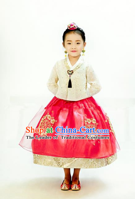 Traditional South Korean Handmade Hanbok Children Embroidery Birthday Red Dress, Top Grade Korea Hanbok Costume Complete Set for Kids