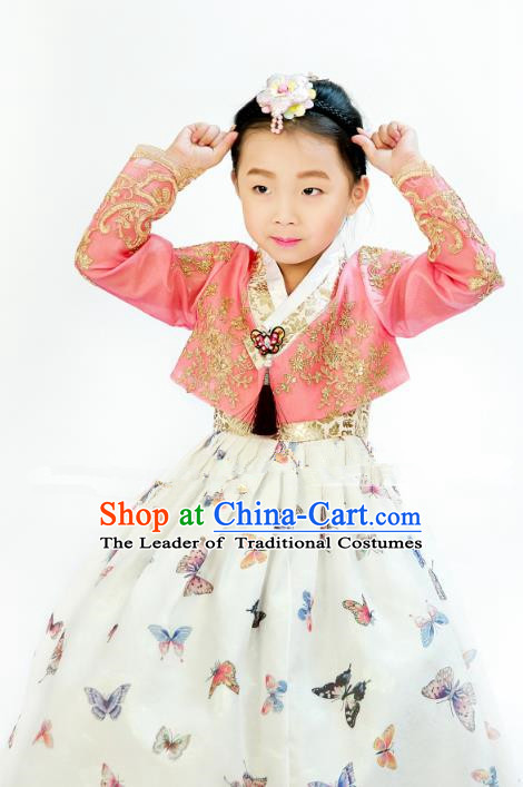 Traditional South Korean Handmade Hanbok Children Printing Butterfly Birthday Dress, Top Grade Korea Hanbok Costume Complete Set for Kids