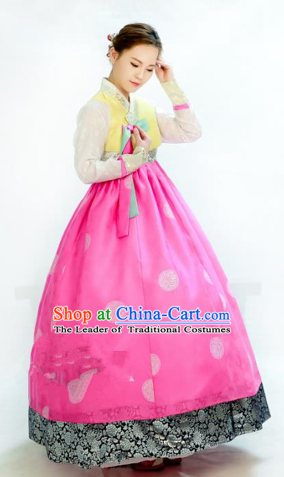Traditional South Korean Handmade Hanbok Embroidery Wedding Pink Dress, Top Grade Korea Hanbok Bride Costume Complete Set for Women