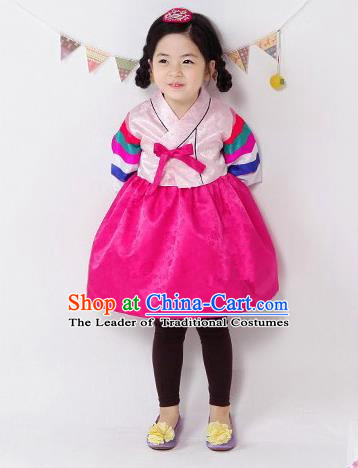 Traditional South Korean Handmade Hanbok Children Pink Birthday Dress, Top Grade Korea Hanbok Costume Complete Set for Kids