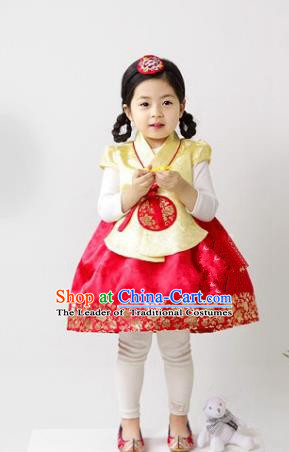 Traditional South Korean Handmade Hanbok Children Red Birthday Dress, Top Grade Korea Hanbok Costume Complete Set for Kids
