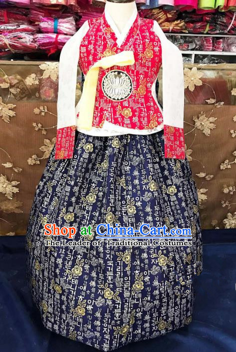 Traditional South Korean Handmade Hanbok Children Navy Birthday Dress, Top Grade Korea Hanbok Costume Complete Set for Girls