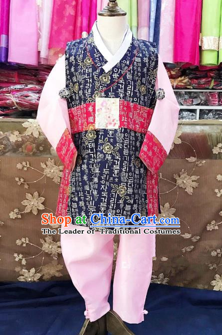 Traditional South Korean Handmade Hanbok Children Navy Birthday Dress, Top Grade Korea Hanbok Costume Complete Set for Boys