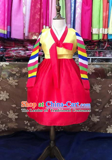 Traditional South Korean Handmade Hanbok Children Birthday Red Dress, Top Grade Korea Hanbok Costume Complete Set for Girls