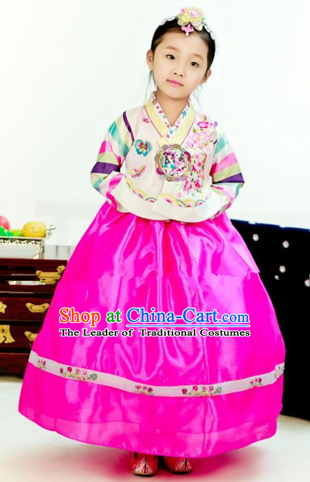 Traditional South Korean Handmade Hanbok Children Birthday Embroidery Beige Blouse Rosy Dress, Top Grade Korea Hanbok Costume Complete Set for Girls