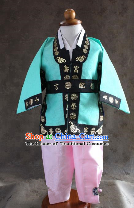 Traditional South Korean Handmade Hanbok Children Baby Birthday Customization Blue Clothing, Top Grade Korea Hanbok Costume Complete Set for Boys