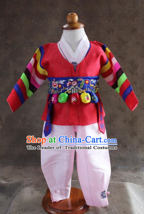 Traditional South Korean Handmade Hanbok Children Baby Birthday Customization Red Clothing and Embroidery Belt, Top Grade Korea Hanbok Costume Complete Set for Boys
