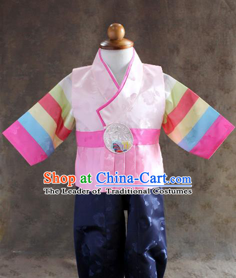 Traditional South Korean Handmade Hanbok Children Little Boys Birthday Customization Pink Clothing, Top Grade Korea Hanbok Costume Complete Set for Kids