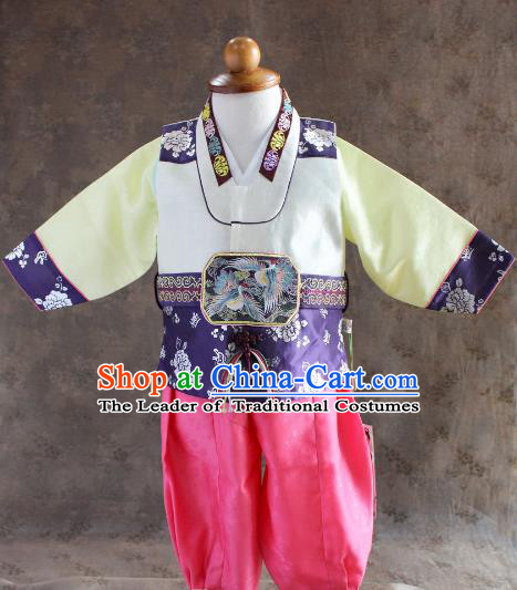 Traditional South Korean Handmade Hanbok Children Little Boys Birthday Customization Yellow Clothing, Top Grade Korea Hanbok Costume Complete Set for Kids