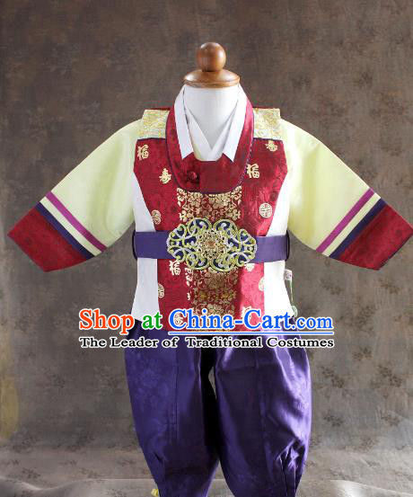 Traditional South Korean Handmade Hanbok Children Little Boys Birthday Customization Shirt and Pants, Top Grade Korea Hanbok Costume Complete Set for Kids