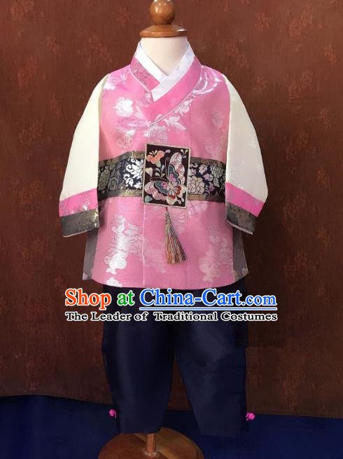 Traditional South Korean Handmade Hanbok Children Baby Birthday Customization Pink Clothing, Top Grade Korea Hanbok Costume Complete Set for Boys