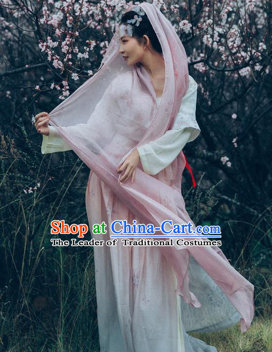 Traditional Ancient Chinese Young Lady Costume Embroidered Blouse and Skirt Complete Set, Elegant Hanfu Clothing Chinese Song Dynasty Imperial Princess Clothing for Women
