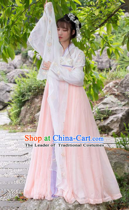 Traditional Ancient Chinese Tang Dynasty Palace Lady Embroidered Costume Blouse and Slip Skirt Complete Set, Elegant Hanfu Clothing Chinese Imperial Princess Dress Clothing for Women