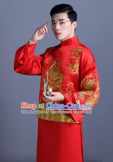 Ancient Chinese Costume Chinese Style Wedding Dress Ancient Embroidery Dragon Shirt, Groom Toast Clothing Mandarin Jacket For Men