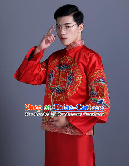 Ancient Chinese Costume Chinese Style Wedding Dress Ancient Embroidery Dragon Upper Outer Garment, Groom Toast Clothing Mandarin Jacket For Men