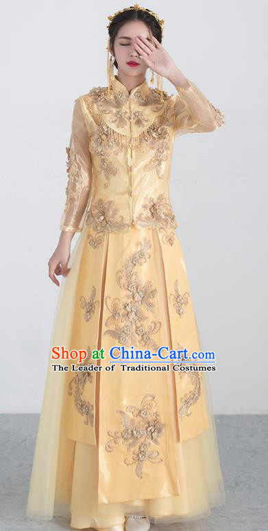 Traditional Ancient Chinese Wedding Costume Handmade XiuHe Suits Embroidery Bride Toast Golden Cheongsam Dress, Chinese Style Hanfu Wedding Clothing for Women