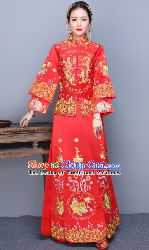 Traditional Ancient Chinese Wedding Costume Handmade XiuHe Suits Embroidery Longfeng Gown Bride Toast Long Sleeve Cheongsam Dress, Chinese Style Hanfu Wedding Clothing for Women
